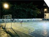 Soccer field Lit Up at Night, Rio de Janeiro, Brazil Prints