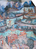 18th Century Murals Inside Lai Kham Viharn, Wat Phra Singh Temple Complex, Chiang Mai, Thailand Posters by Richard Ashworth