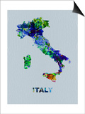 Italy Color Splatter Map Poster by  NaxArt