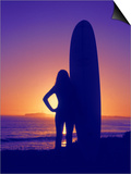 Surfer Girl, Silhouette Art by Jerry Koontz