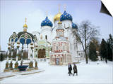 Cathedral of the Assumption in Winter Snow, Sergiev Posad, Moscow Area Print by Gavin Hellier