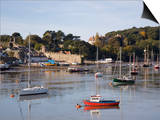 View Across River Estuary to Town Wall Quay and Harbour with Moored Boats on Calm Water, Wales Posters by Pearl Bucknall