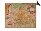 Ancient Map of England 1579 Prints by Christopher Saxton