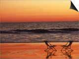 Silhouette of Two Chairs on the Beach Prints by Mitch Diamond