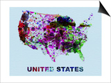 United States Color Splatter Map Prints by  NaxArt