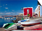 Boats and Old Red House, Old Port, Puerto Del Carmen, Lanzarote, Canary Islands, Spain Prints by Marco Simoni