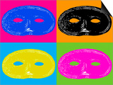 Four Mardi Gras, Halloween Mask Posters by EJ Carr
