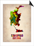 San Diego Watercolor Map Print by  NaxArt