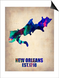 New Orleans Watercolor Map Art by  NaxArt