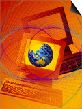 Globe on Computer Monitor Prints by Carol & Mike Werner