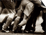 Detail of Feet of a Group of Rugby Players in a Scrum, Paris, France Prints