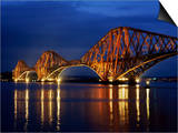 Forth Railway Bridge at Night, Queensferry, Edinburgh, Lothian, Scotland, United Kingdom Print by Neale Clarke