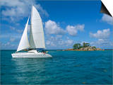 Catamaran, Island of Praslin, Seychelles, Indian Ocean, Africa Print by Bruno Barbier