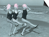 Three Women on Beach with Pink Towels on Head Print by Jim McGuire