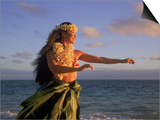 Hawaiian Hula at Sunrise, HI Print by Tomas del Amo