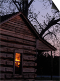 Log Cabin Window Reflecting Sunset, Red Hill, GA Prints by Jeff Greenberg