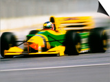 Yellow Race Car in Motion Posters by Peter Walton