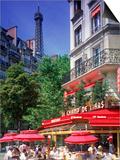 Cafe and Eiffel Tower, Paris, France Kunst von Peter Adams