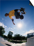 Skateboarder in Action on the Vert Posters