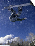 Male Snowboarder Flying Throught the Air, Aspen, Colorado, USA Posters
