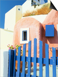 Painted Houses and Blue Gate, Imerovigli, Santorini, Cyclades Islands, Greek Islands, Greece Prints by Lee Frost