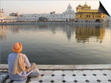 Sikh Pilgrim Sitting by Holy Pool, Golden Temple, Amritsar, Punjab State, India Art by Eitan Simanor