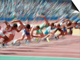 Blured Action at the Start of a Mens 100 Meter Track and Field Race Print by Paul Sutton