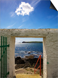 Doorway Near Ballynacourty Lighthouse, with View to Helvick Head, County Waterford, Ireland Prints