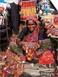 Woman in Market, Mapusa, Goa, India Prints by Michael Short