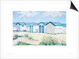 Beach  Huts On A Bright Day Art by Jane Hewlett