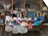 Large Quantity of Laundry Hanging from the Balcony of a Crumbling Building, Habana Vieja, Cuba Prints by Eitan Simanor