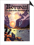 Travel Norway, Land of the Midnight Sun Posters