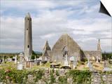 Kilmacdaugh Churches and Round Tower, Near Gort, County Galway, Connacht, Republic of Ireland Posters by Gary Cook