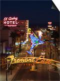 Neon Casino Signs Lit Up at Dusk, El Cortez, Fremont Street, the Strip, Las Vegas, Nevada, USA Prints