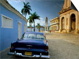 View Across Plaza Mayor with Old American Car Parked on Cobbles, Trinidad, Cuba, West Indies Prints by Lee Frost