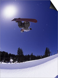Airborne Snowboarder in Half Pipe Position Art by Kurt Olesek