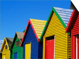 Colourfully Painted Victorian Bathing Huts in False Bay, Cape Town, South Africa, Africa Poster by Yadid Levy