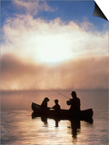Silhouetted Father and Son Fishing from a Canoe Prints by Bob Winsett