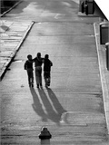 Three Boys Walking Down Street Arm in Arm Posters by Len Rubenstein