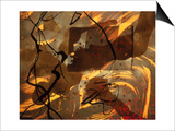 Abstract Image in Brown, Black, and Red Print by Daniel Root