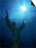 Christ of the Abyss Statue, Pennekamp State Park, FL Posters by Shirley Vanderbilt