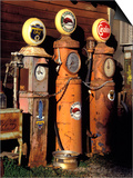 Three Old Gas Pumps Prints by Charles Benes