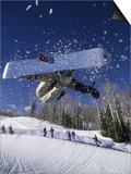 Blurred Action of Snowboarder, Aspen, Colorado, USA Prints