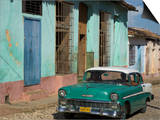 Typical Paved Street with Colourful Houses and Old American Car, Trinidad, Cuba, West Indies Print by Eitan Simanor