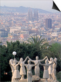 Sculpture with Barcelona in Background, Spain Print by David Marshall