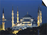 Blue Mosque (Sultan Ahmet Mosque) at Night, Istanbul, Turkey Poster by Lee Frost