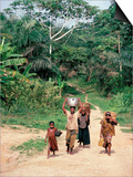 Women Coming Form the Fields, Assoumdele Village, Northern Area, Congo, Africa Posters by David Poole