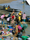Laundry by the River, Djenne, Mali, Africa Print by Bruno Morandi