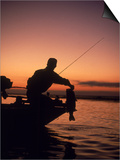 Silhouette of Bass Fisher at Sunset Posters by Timothy O'Keefe