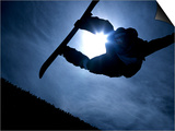 Silhouette of Male Snowboarder Flying over the Vert, Salt Lake City, Utah, USA Poster by Chris Trotman